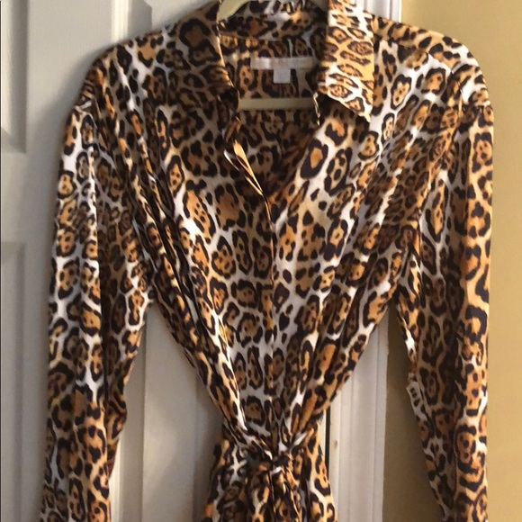 new style & luxury big discount buying new Boston Proper Silk Shirt Dress Leopard Print NWT